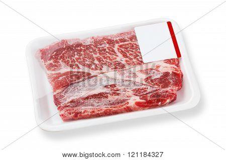 Frozen Beef Chuck Steak On Foam Tray