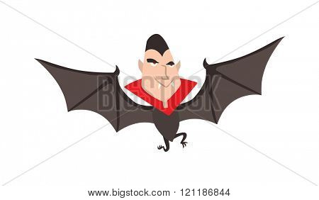 Cartoon Dracula Bat vector. Charming Bat vampire. Cartoon Dracula Bat smiling. Cartoon Dracula Bat flying. Cartoon vampire funny character, Bat Dracula Halloween illustration.