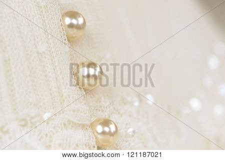 Pearl buttons on a wedding dress