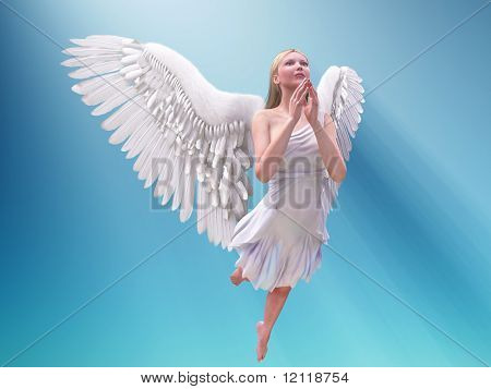 praying white angel