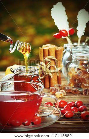 Sweet Rose Hip Tea With Honey