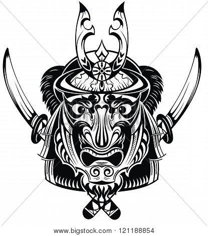 Illustration of mask samurai warrior. Tattoo mask