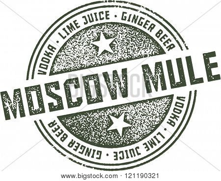 Moscow Mule Cocktail Bar Stamp