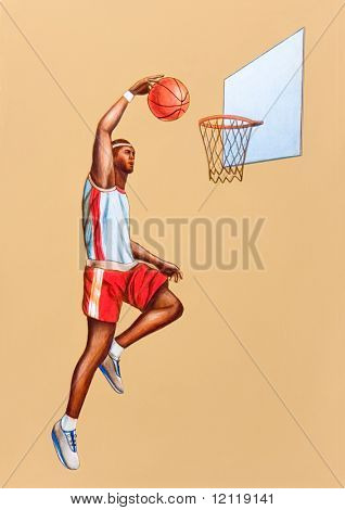 Basketball player jumping. Hand painted illustration.