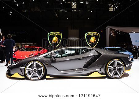 GENEVA, SWITZERLAND - MARCH 1: Geneva Motor Show on March 1, 2016 in Geneva, Lamborghini Centenario, side view