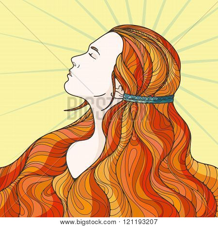 Profile of a beautiful girl with long haughty intricately curled hair.