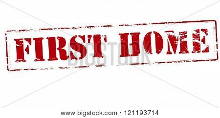 Rubber stamp with text first home inside vector illustration