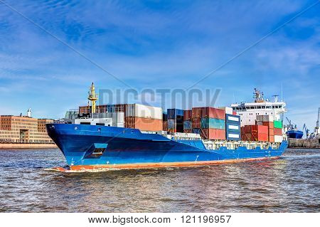 Container ship in Hamburg