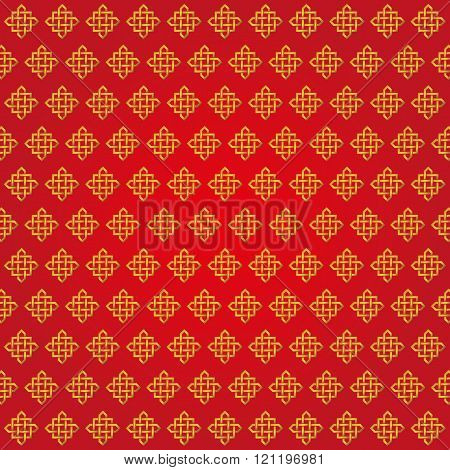 Auspicious Endless knots Chinese pattern.Red,Gold