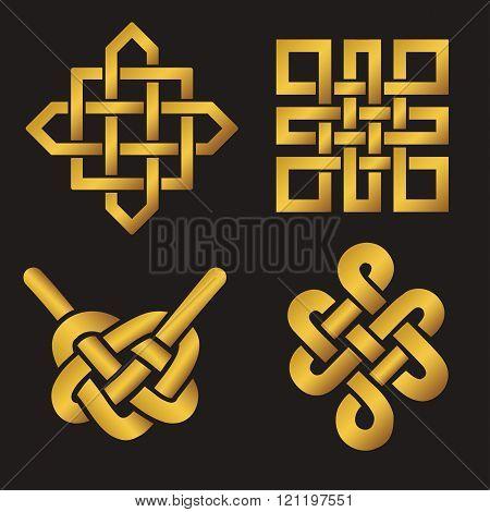 Auspicious Endless knots set.Buddhist symbol.Gold
