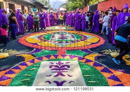 Lent Carpet & Cucuruchos, Antigua, Guatemala