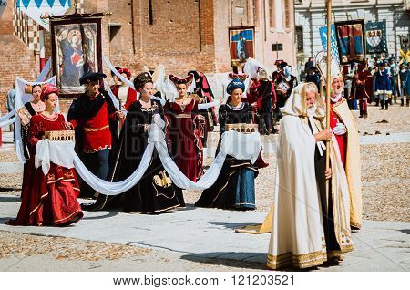 Bishop, Priests And Monks Wearing Medieval Dress