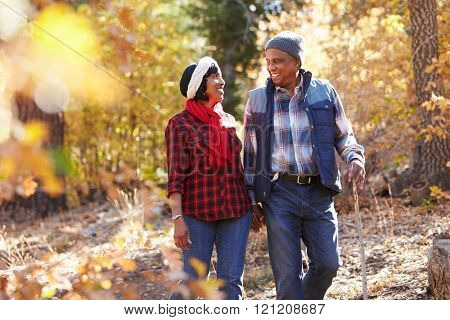Senior African American Couple Walking Through Fall Woodland