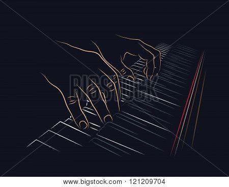 Playing piano keyboard