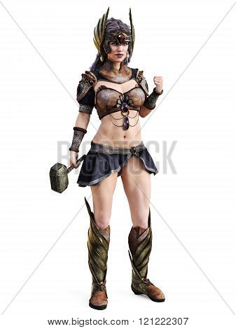 Female clothed in battle dress, Greek or amazon concept