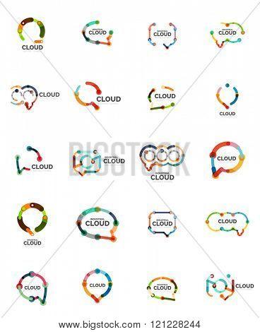 Set of flat linear design speech cloud logos. Talk bubbles, modern geometric industrial thin line icons