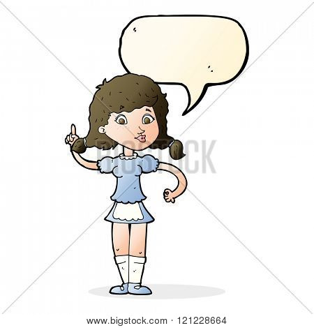 cartoon pretty maid woman with speech bubble