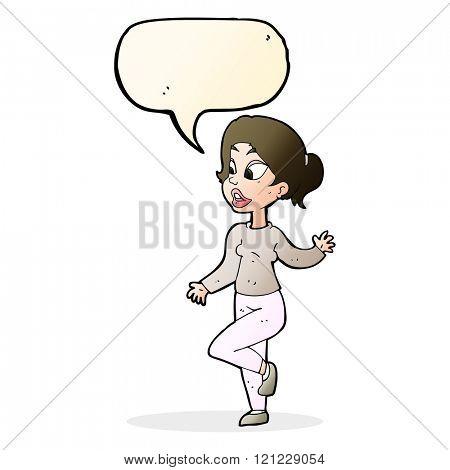 cartoon friendly woman waving with speech bubble