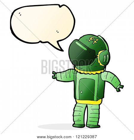 cartoon astronaut with speech bubble