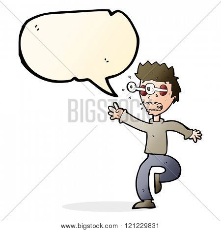 cartoon terrified man with eyes popping out with speech bubble