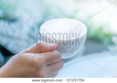Hand hold Latte Coffee art