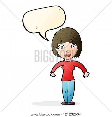 cartoon surprised woman with speech bubble