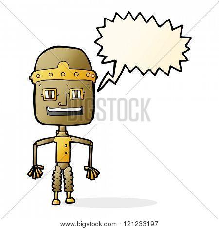 funny cartoon robot with speech bubble