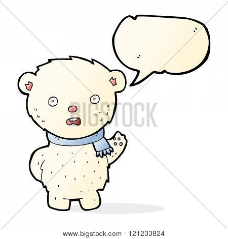 cartoon polar bear wearing scarf with speech bubble