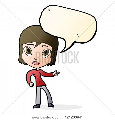 cartoon pointing woman with speech bubble