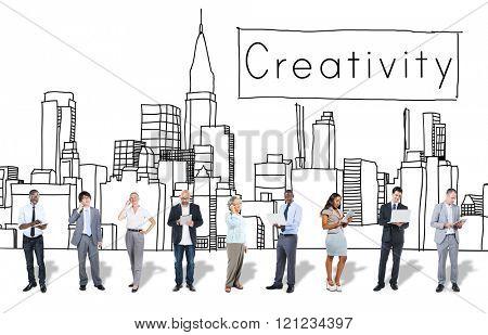 Creativity Design Drawing Ideas Cityscape Concept