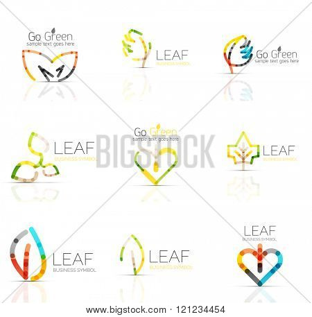 Linear leaf abstract logo set, connected multicolored segments