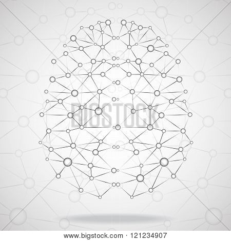 Abstract geometric brain, network connections