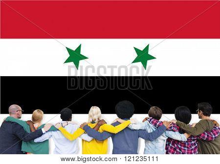 Syria National Flag Teamwork Diversity Concept