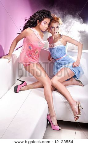 Glamour style photo of two attractive girls