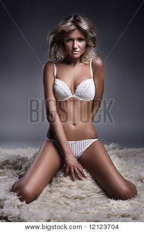 Attractive young lady posing in underwear