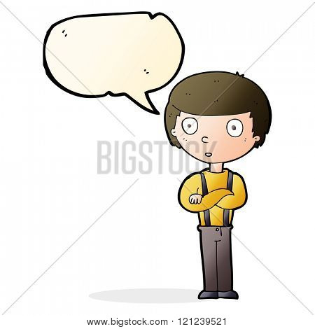 cartoon staring boy with folded arms with speech bubble
