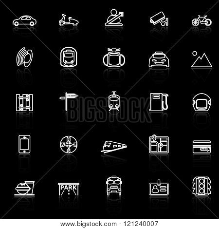 Land transport related line icons with reflect on black stock vector