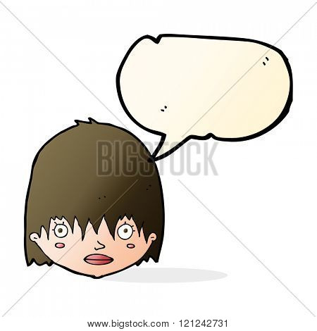 cartoon staring woman with speech bubble