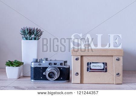 Retro Photo Camera And Photo Album For Sale