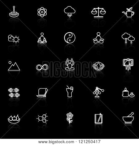 Zen concept line icons with reflect on black stock vector