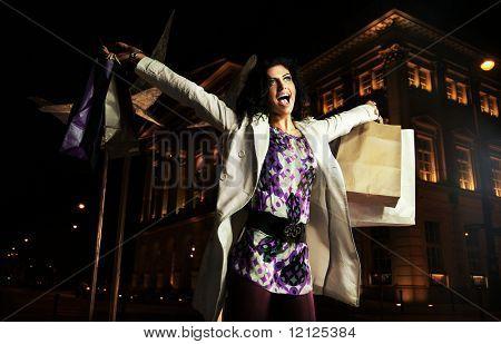 Joyful lady holding shopping bags, on the night