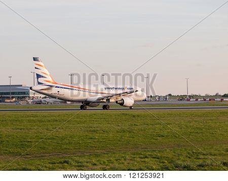 PRAGUE, CZECH REPUBLIC - CIRCA APRIL 2015: SmartWings Boeing 737-800 taking off, Vaclav Havel Airport Prague PRG in april 2015