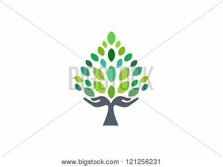 tree hand logo, hand tree symbol, nature wellness health icon vector design