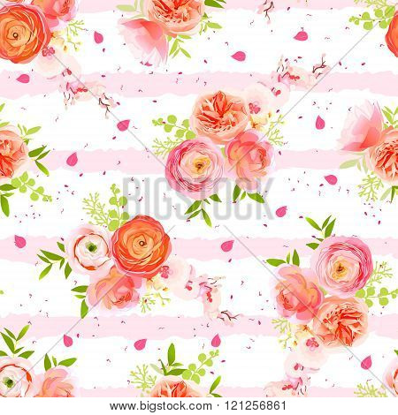 Peachy Roses, Ranunculus, Petals And Herbs Bouquets Striped Seamless Vector Print