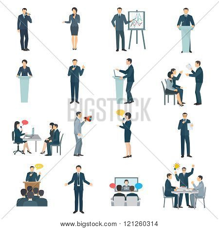 Public Speaking Flat Icons Set