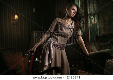 Old fashioned lady posing
