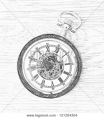 Illustration Of Retro Pocket Watch