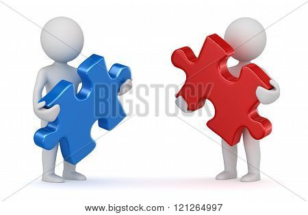 Two Man Holding Red And Blue Puzzle Piece