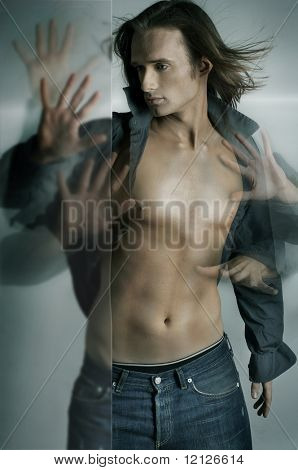 Dynamic photo of a handsome guy with many hands