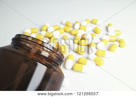 Brown Glass Bottle With Pills, 3D Render